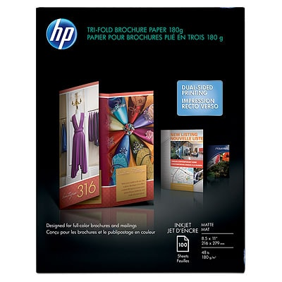 HP Tri-Fold Brochure Paper, Matte - 100 Sheets, 8.5 X 11-Inch