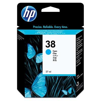 HP 38 Cyan Pigment Original Ink Cartridge C9415A