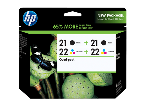 HP 21 Black(2)/22 Tri-color(2) 4-pack Original Ink Cartridges