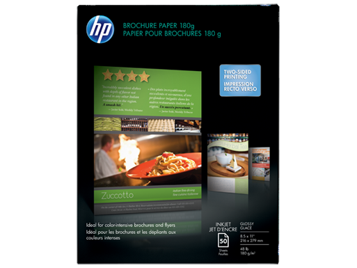 HP Inkjet Glossy Brochure Paper 180 gsm-50 sht/Letter/8.5 x 11 in