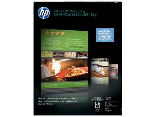 HP Inkjet Glossy Brochure Paper 180 gsm-50 sht/Letter/8.5 x 11 in