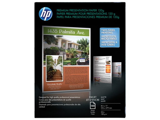 HP Premium Inkjet Matte Presentation Paper 120 gsm-150 sht/Letter/8.5 x 11 in