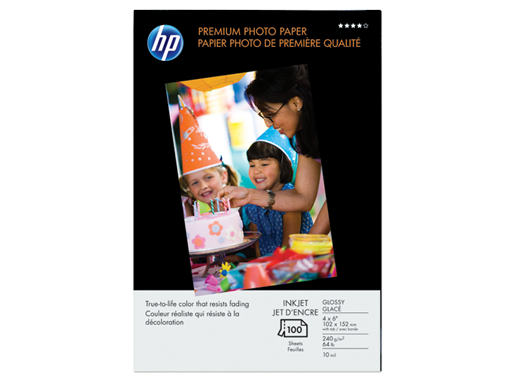 HP Premium Glossy Photo Paper-100 sht/4 x 6