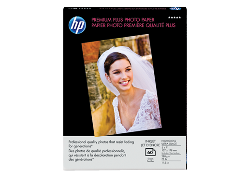 HP Premium Plus High-gloss Photo Paper-60 sht/5 x