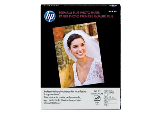 HP Premium Plus High-gloss Photo Paper-60 sht/5 x 7 in borderless
