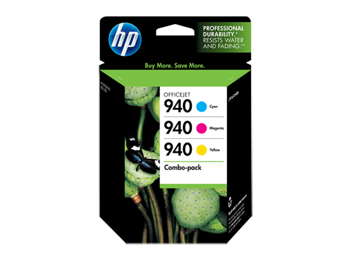 HP 940 Combo-pack Cyan/Magenta/Yellow Officejet Ink Cartridges