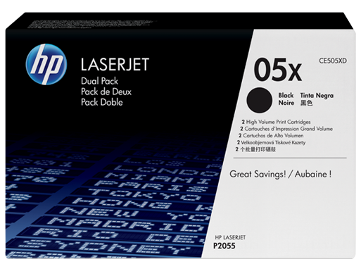 HP 05X Black Dual Pack LaserJet Toner Cartridges