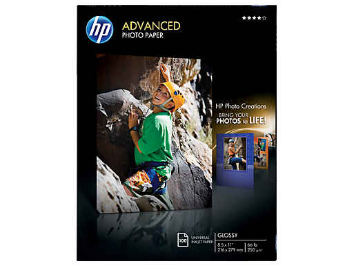 HP Advanced Glossy Photo Paper-100 sht/Letter/8.5 x 11