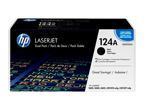 HP 124A 2-pack Black Original LaserJet Toner Cartridges