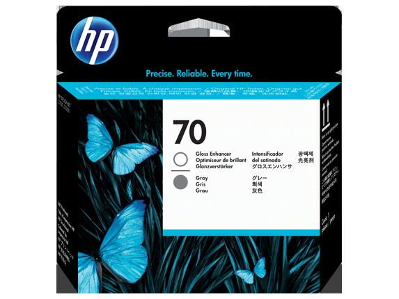 HP 70 Gloss Enhancer and Gray DesignJet Printhead