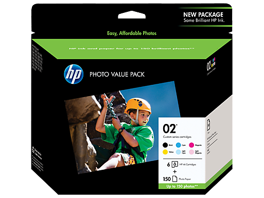 HP 02 Series Photo Value Pack-150 sht/4 x