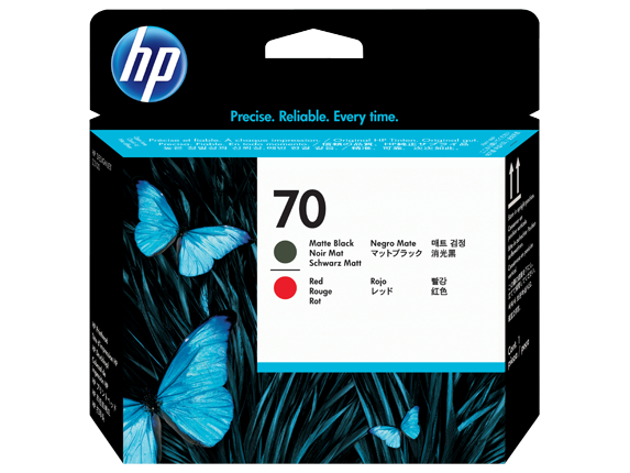 HP 70 Matte Black and Red DesignJet Printhead