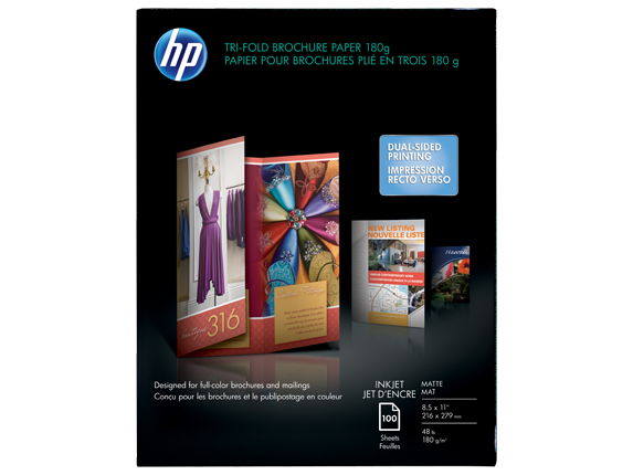 HP Inkjet Matte Tri-fold Brochure Paper 180 gsm-100