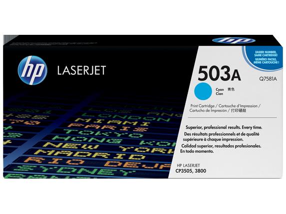 HP 503A Cyan Original LaserJet Toner Cartridge, Q7581A