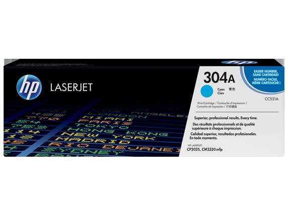 HP 304A Cyan Original LaserJet Toner Cartridge, CC531A