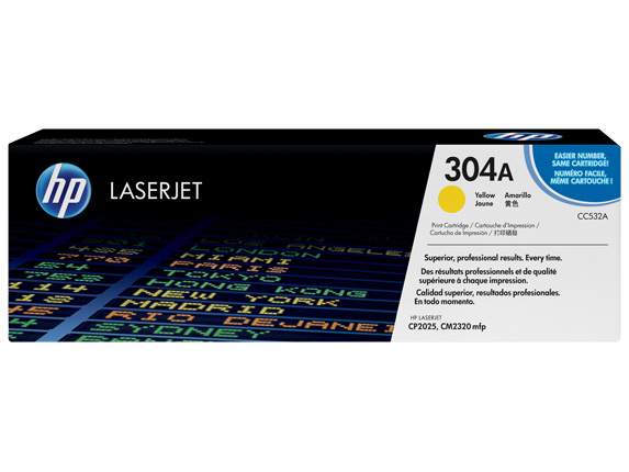 HP 304A Yellow Original LaserJet Toner Cartridge, CC532A