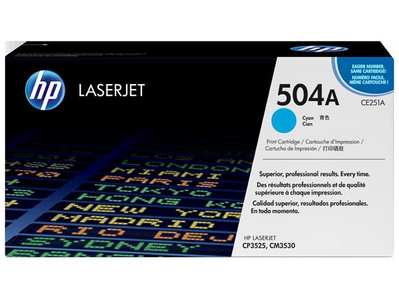 HP 504A Cyan Original LaserJet Toner Cartridge, CE251A