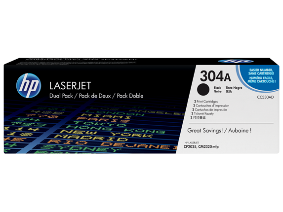 HP 304A 2-pack Black Original LaserJet Toner Cartridges