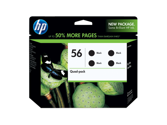 HP 56 4-pack Black inkjet Print Cartridges