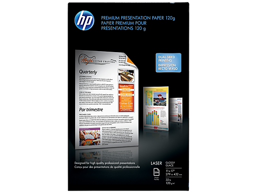 HP Premium Glossy Presentation Paper 120 gsm-250 sht/Tabloid/11