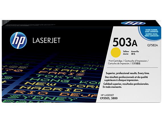 HP 503A Yellow Original LaserJet Toner Cartridge, Q7582A