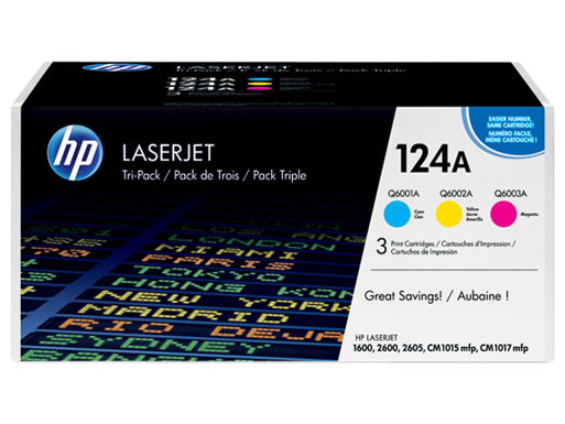 HP 124A 3-pack Cyan/Magenta/Yellow Original LaserJet Toner Cartridges