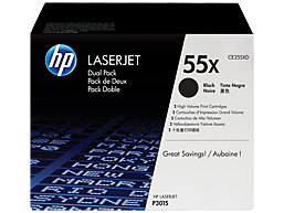 HP 55X 2-pack High Yield Black Original LaserJet Toner Cartridges, CE255XD