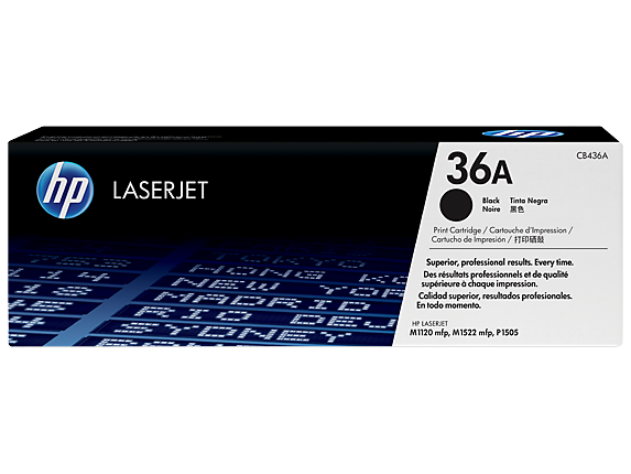 HP 36A Black Original LaserJet Toner Cartridge, CB436A