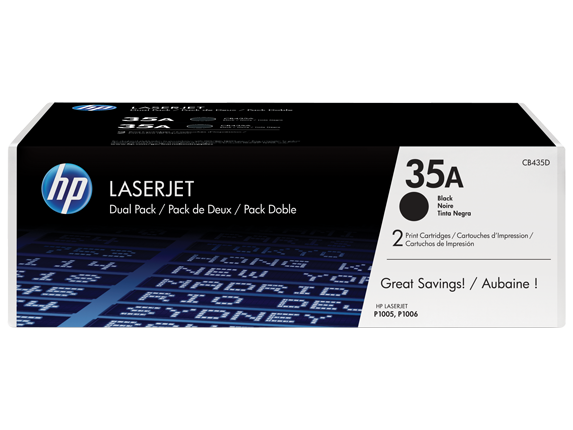 HP 35A 2-pack Black Original LaserJet Toner Cartridges, CB435D