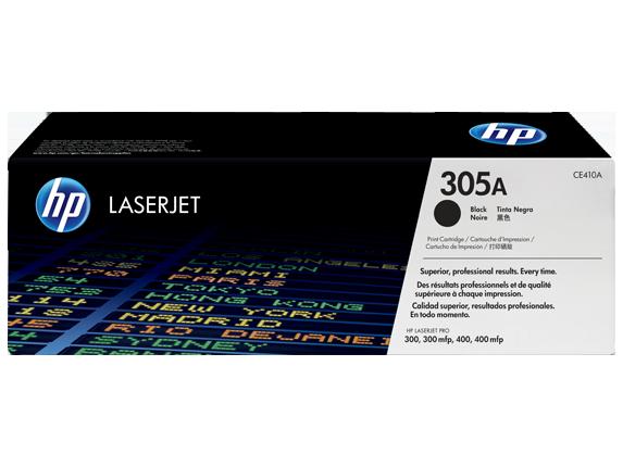 HP 305A Black Original LaserJet Toner Cartridge, CE410A