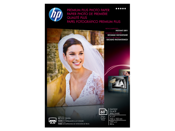 HP Premium Plus Glossy Photo Paper-60 sht/4 x