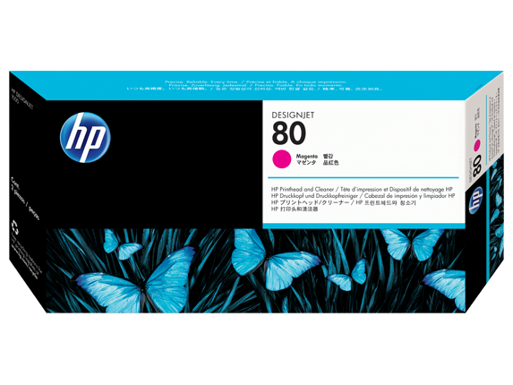 HP 80 Magenta DesignJet Printhead and Printhead Cleaner