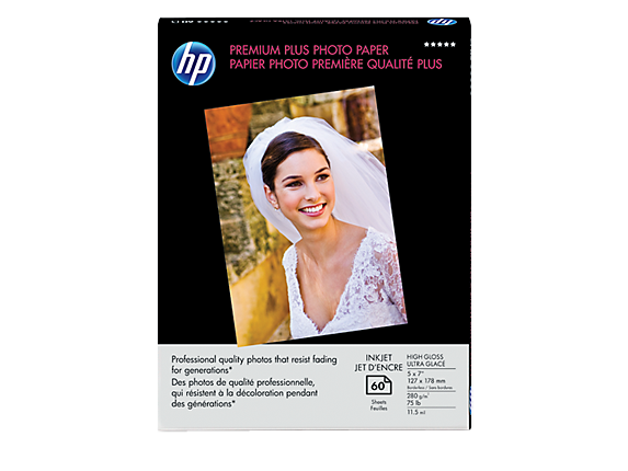 HP Premium Plus High-gloss Photo Paper-60 sht/5 x 7 in borderless