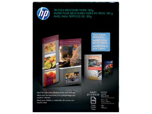 HP Inkjet Glossy Tri-fold Brochure Paper 180 gsm-100 sht/Letter/8.5 x 11 in