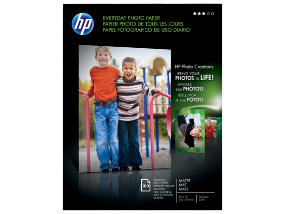 HP Everyday Matte Photo Paper-100 sht/Letter/8.5 x 11 in