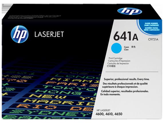 HP 641A Cyan Original LaserJet Toner Cartridge, C9721A