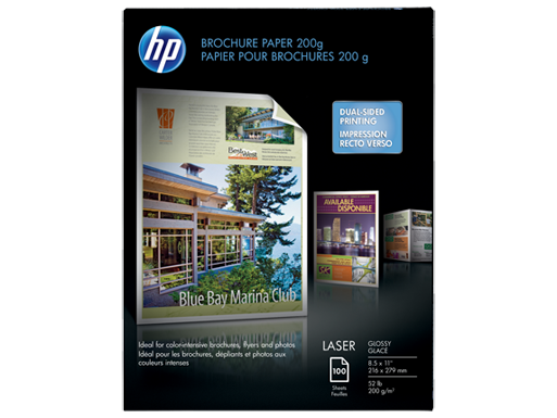 HP Laser Glossy Brochure Paper 200 gsm-100 sht/Letter/8.5