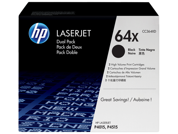 HP 64X 2-pack High Yield Black Original LaserJet Toner Cartridges, CC364XD