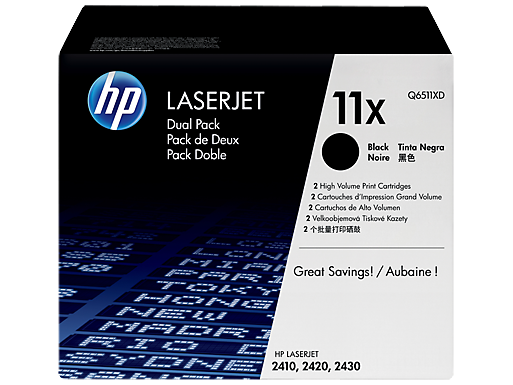 HP 11X 2-pack High Yield Black Original LaserJet Toner Cartridges