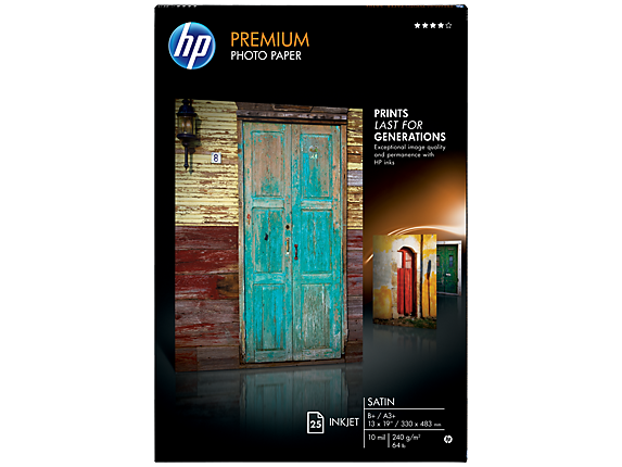 HP Premium Satin Photo Paper-25 sht/A3+/330 x 483 mm (13 x 19 in)