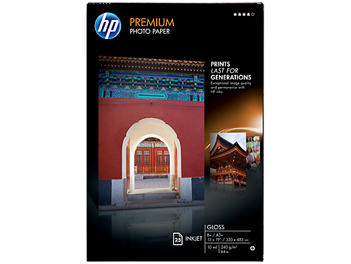 HP Premium Gloss Photo Paper-25 sht/A3+/330 x 483 mm (13 x 19 in)