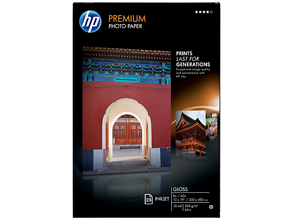 HP Premium Gloss Photo Paper-25 sht/A3+/330 x 483