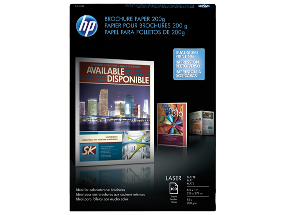 HP Laser Matte Brochure Paper 200 gsm-100 sht/Letter/8.5