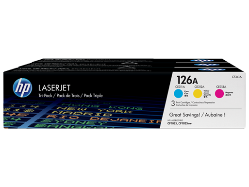 HP 126A Cyan/Magenta/Yellow Tri-pack LaserJet Toner Cartridges
