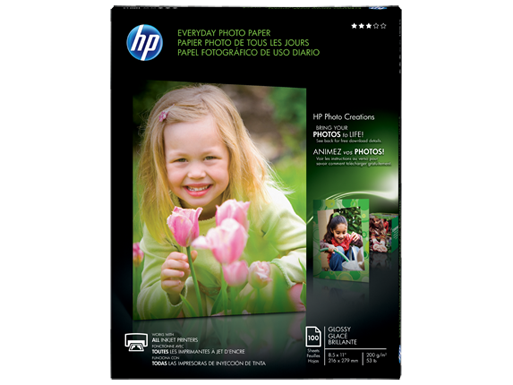 HP Everyday Glossy Photo Paper-100 sht/Letter/8.5 x 11