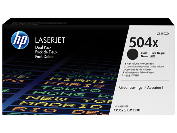 HP 504X Black Dual Pack LaserJet Toner Cartridges