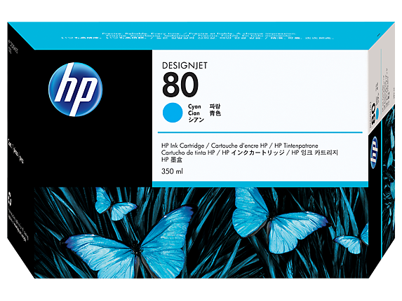 HP 80 350-ml Cyan DesignJet Ink Cartridge