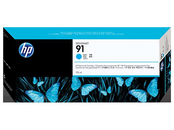 HP 91 775-ml Cyan DesignJet Pigment Ink Cartridge