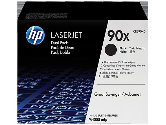 HP 90X 2-pack High Yield Black Original LaserJet Toner Cartridges, CE390XD
