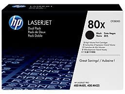 HP 80X 2-pack High Yield Black Original LaserJet Toner Cartridges, CF280XD